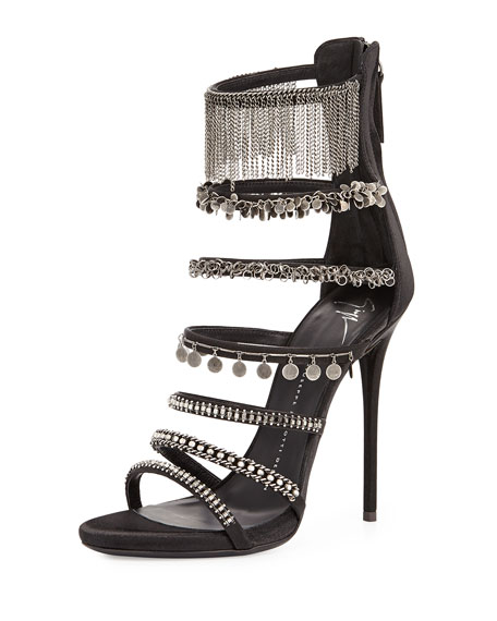 Satin Ladder Strap Sandal, Black/Pewter