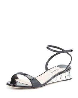Patent Jeweled Facet Wedge, Nero
