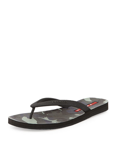 Camouflage Bottom Thong Sandal, Fumo