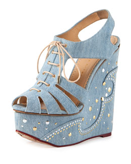 Denim Embroidered Lace-Up Wedge Sandal