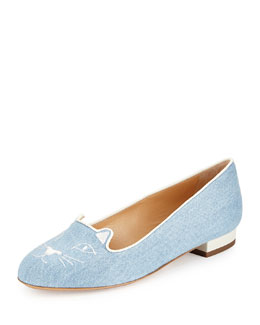Kitty Denim Slipper, Light Blue/White