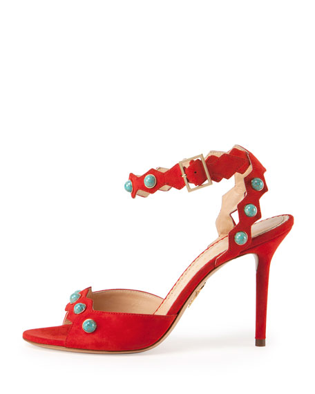 Santa Fe Suede & Turquoise Sandal, Rodeo Red