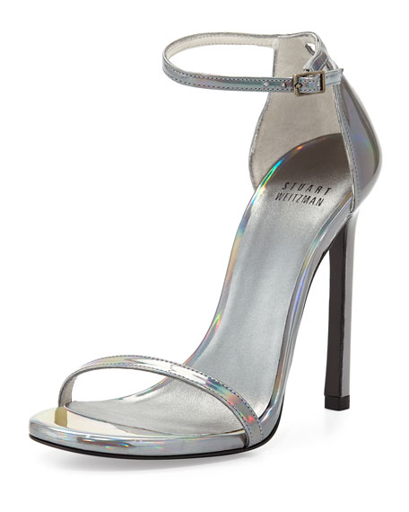 Nudist Metallic Ankle-Strap Sandal, Pewter