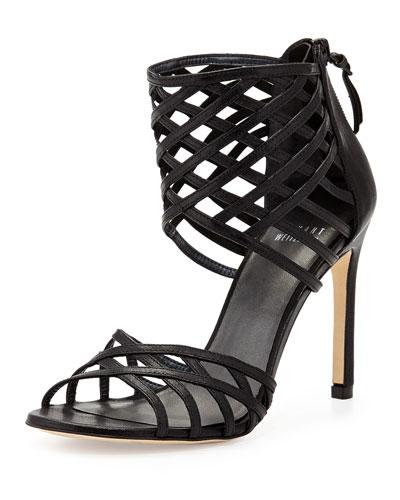 Cajun Woven Leather Sandal, Black