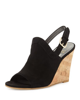 Liner Up-Front Slingback Wedge Sandal, Black