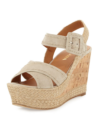 Suede Cork Wedge Sandal, Pomice