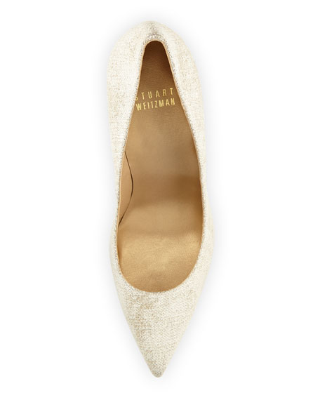 Nouveau Linen Point-Toe Pump, Dusty