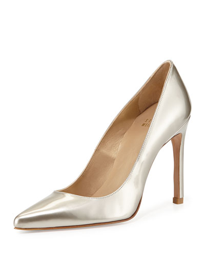 Nouveau Metallic Leather Pump, Magnesium