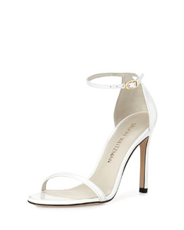 Nudistsong Metallic Ankle-Strap Sandal, White