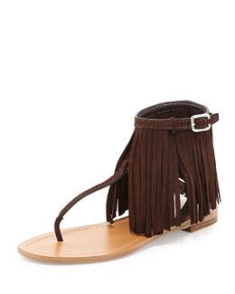 Suede Fringe Flat Sandal, Teak