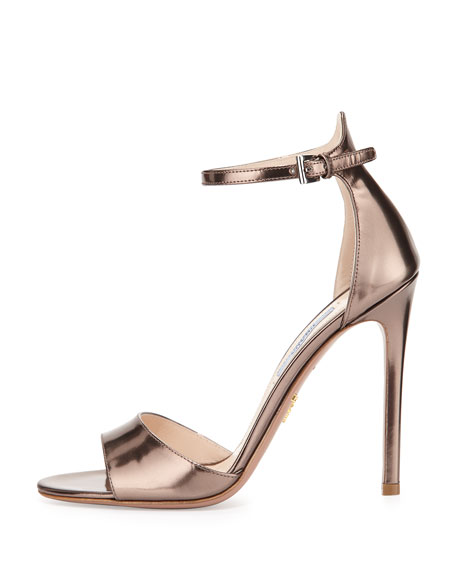 Metallic Leather High-Heel Sandal, Sasso