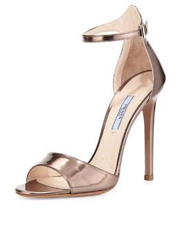 Metallic Leather High-Heel Sandal, Sasso