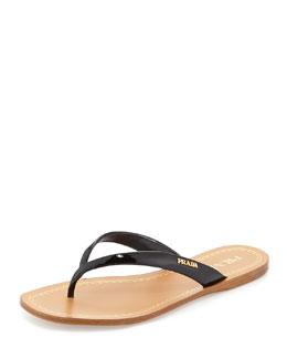Patent Logo Thong Sandal, Black