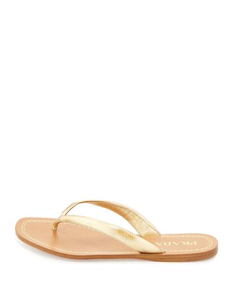 086c77f01c2 Prada Metallic Leather Logo Thong Sandal