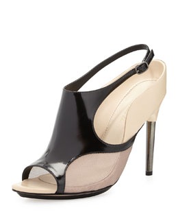 Aria Leather Slingback Sandal, Black/Mauve