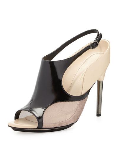 Aria Leather Slingback Sandal, Black/Mauve