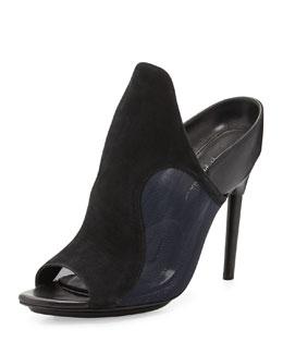 Aria Suede Mule Sandal, Black/Blue