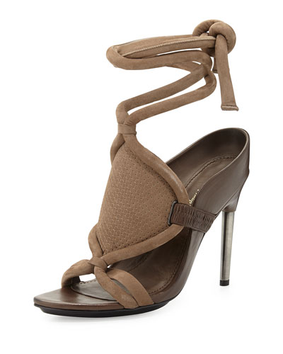 Marquise Leather Ankle-Wrap Sandal, Clay/Wren