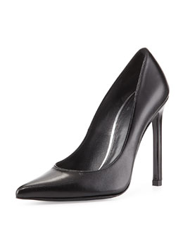 Queen Leather Point-Toe Pump, Black