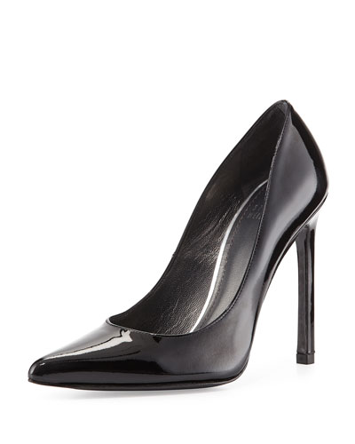 Queen Patent Point-Toe Pump, Black