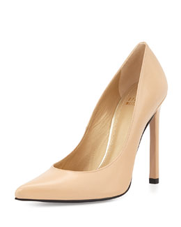 Queen Leather Point-Toe Pump, Adobe