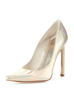 Queen Iridescent Point-Toe Pump, Cava