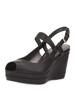 Bridge Leather Wedge Sandal, Black