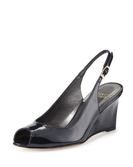 Decoslinky Patent Slingback Wedge, Navy