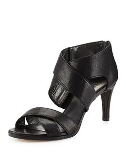 HugMe Leather Crisscross Sandal, Black