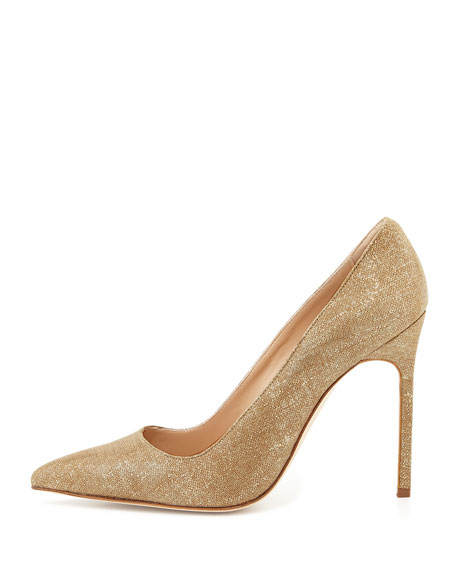 BB Suede 115mm Pump, Natural Gold