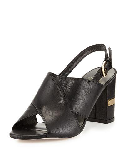 Maxwell Kidskin Mid-Heel Sandal, Black