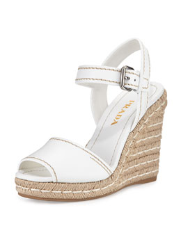 Leather Rope Wedge Sandal, Bianco