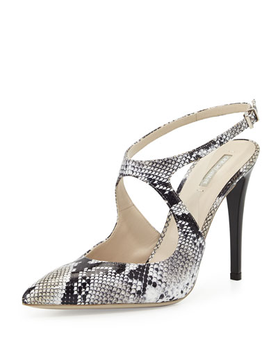 Snake-Embossed Cutout Pump, Black/White