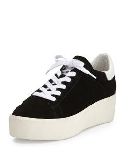 Cult Platform Suede Sneaker, Black/White