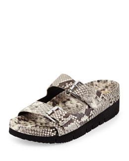 Takoon Snake-Embossed Leather Sandal, Roccia