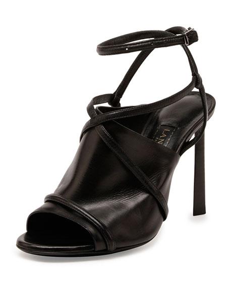 Leather Crisscross Glove Sandal, Black