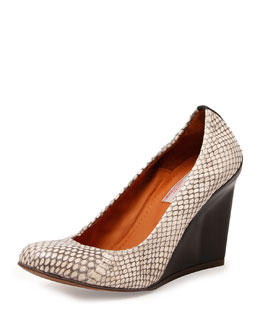 Snake-Embossed Ballerina Wedge Pump, Gray/Black