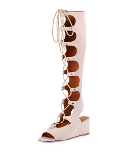 Suede Gladiator Tall Wedge Sandal, Cream Puff