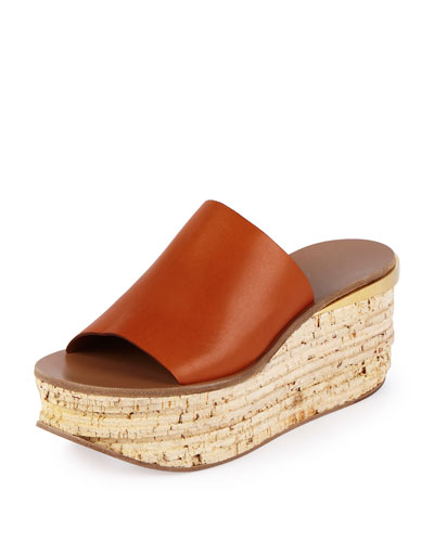 Leather Cork Wedge Slide, Sienna Rust