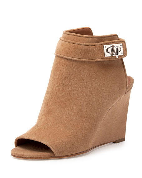 Suede Shark-Lock Peep-Toe Wedge Bootie