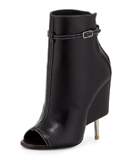 Leather Screw Heel Bootie, Black