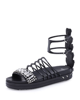 Jeweled Flatform Cage Sandal