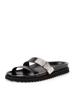 Crystal-Embellished Double-Strap Slide, Black