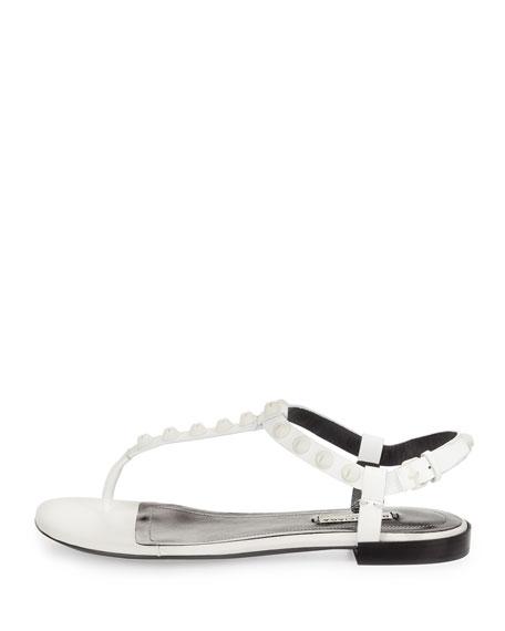 Studded Leather Flat Sandal, White