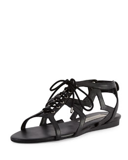 Faux-Leather Stars Flat Sandal, Black