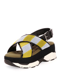 Striped Crisscross Platform Sandal, Diamond/Lemon