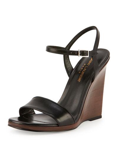 Jane Wooden Wedge Sandal, Noir