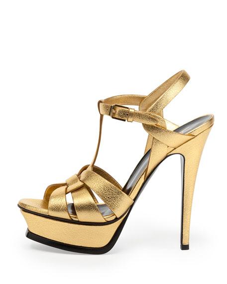 Tribute Metallic Leather Platform Sandal, Gold