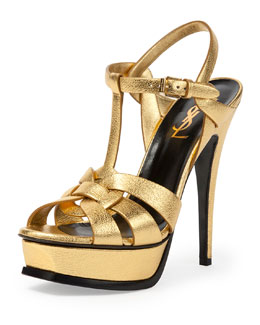 Tribute Metallic Leather Platform Sandal, Gold