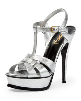 Tribute Metallic Leather Platform Sandal, Platine